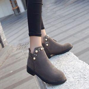 Faux-Pearl Detail Short Boots - Size - Size 6